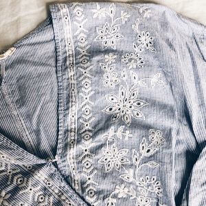 Chloe & Katie Blue and White Embroidered Wrap Top